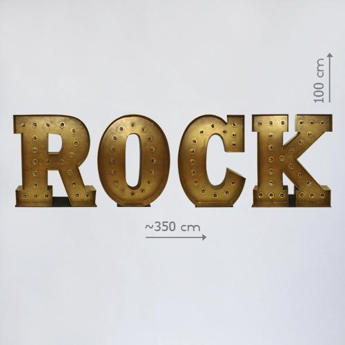 """Большие буквы """"ROCK"""" с лампочками"""